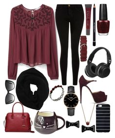 """Maroon & Black"" by infinitygirl13 ❤ liked on Polyvore featuring MANGO, Lane Bryant, Current/Elliott, OPI, Givenchy, Brian Atwood, Wyatt, Kate Spade, CLUSE and Masha By Sasha"