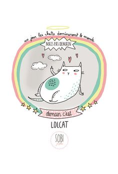 card A6 350 gr choice : Unicorn cats ... от Sobigraphie на Etsy