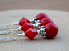 Red necklace red bridesmaid necklace red pendant by SheJustSaidYes, $19.00