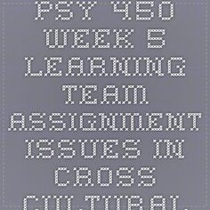 PSY 450 Week 5 Learning Team Assignment Issues in Cross-Cultural Psychology Presentation