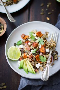roasted sweet potato and quinoa salad with chile and lime.