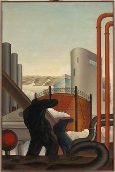 A painting by Mario Guido dal Monte 1933 Diesel Punk, Giuseppe Arcimboldo, Edward Hopper, 2d Art, Photo Reference, Surreal Art, Romans, Good Times, Surrealism