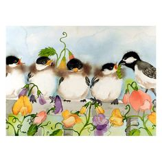 Baby Bird Art Watercolor Print Spring Summer Chickadee by LaBerge, $28.00