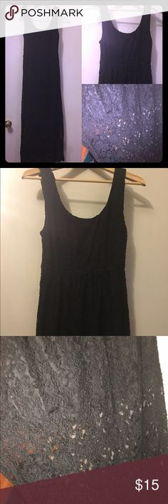 Lace maxi dress Stretchy lace maxi dress by Mimi Chica. Black lace with elastic empire waist. Lined only partial ways so it is see through lace from the thigh down. Very cute. Worn a few times, good condition but may have a few unnoticeable pulls in the lace. Mimi Chica Dresses Maxi