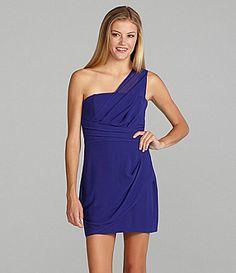 GB One-Shoulder Draped Dress | Dillards.com