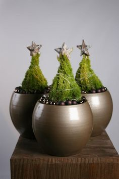 "Mini topiary trees with bullion wire ""garland"" // Christmas at Florazon (Nl.)"