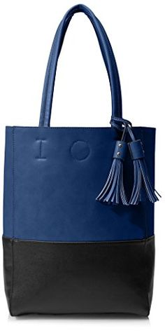 SOCIETY NEW YORK Womens Tote Bag with Tassels NavyBlack * Details can be found by clicking on the image.