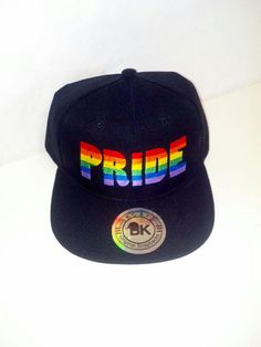Pride Rainbow Black Snapback Hat Flat Bill by HeatherGaleaDesigns