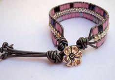 Flower cuff braceletleather cuff bracelettila by JoolsbyAveril
