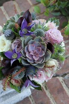 succulent, garden bouquet www.artwithnaturedesign.com