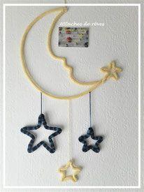 tricotin lune étoile, décoration tricotin, forme tricotin, prénoms tricotin, tricotin fait main, fabrication artisanale, décoration murale, chambre enfant, bébé, idée cadeau personnalisé. www.attachesdereves.fr