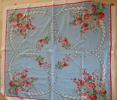 Vintage Shabby Roses Pink Red Blue Floral Tablecloth Cottage Chic | eBay