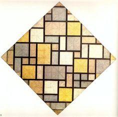 'Composition. Des couleurs vives avec lynx gris' de Piet Mondrian (1872-1944…
