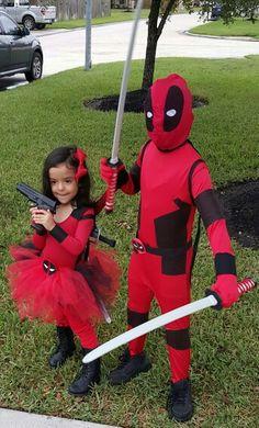Homemade male & female deadpool costume