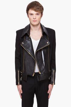 Leather front pannel biker style jacket Juun.J
