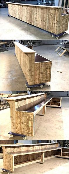 The furniture pieces on the wheels are easy to transfer anywhere as there is no need to pick them up by hand, this giant wood pallet bar idea is great for those who are planning to open a bar. The size can be decreased if the bar area is not spacious. Palet Bar, Outdoor Pallet Bar, Wood Pallet Bar, Outdoor Bars, Recycled Pallets, Wooden Pallets, Recycled Wood, Bar En Palette, Palette Deco