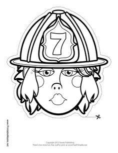 female firefighter coloring pages | Female Sheriff Mask to Color Printable Mask, free to ...