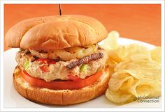 Sweet and Sour  Burgers   1 lb ground chicken   ◦1 to 2 cloves garlic, very finely chopped   ◦1 teaspoon grated fresh ginger   ◦1/3 cup red bell pepper, cut into 1/4-inch pieces   ◦1/3 cup green bell pepper, cut into 1/4-inch pieces   ◦1/4 cup onion, finely chopped   ◦1/2 teaspoon salt   ◦1/2 teaspoon sriracha (Asian hot sauce)   ◦1/2 tablespoon rice vinegar   ◦1/2 tablespoon sugar   ◦4 pineapple rings (fresh or canned)   ◦4 slices tomato   ◦4 sweet sandwich rolls (Hawaiian or potato)…