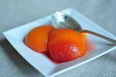 Wine-poached peaches with basil, made with Sutter Home Pinot Grigio.