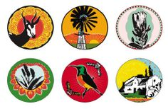 Coasters. Kiekie images offer a fresh approach to Boere, Botanic & Curio – iconic, funky designs all with an über cool twist to South Africa's legacy! Designed in Stanford, Western Cape, by a talented graphic design duo.
