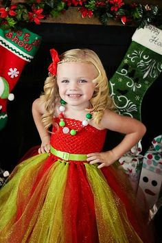 Newborn - Size 9 Sparkly Glitter Christmas Red and Green Tutu Dress