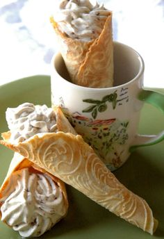 Norwegian Krumkake with Honey & Rum Raisin Mousse