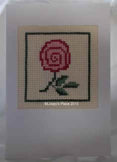 Rose-Cross Stitched Card - Loopy's Place  #crossstitch #card  50p from each sale goes to Teenage Cancer Trust