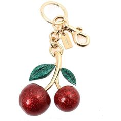 Coach Glitter Cherry Bag Charm Keychain, F58516 (Red): Clothing ($65) ❤ liked on Polyvore featuring accessories and key fob chain