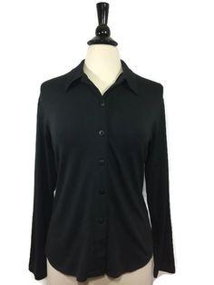 LIZ CLAIBORNE LIZ & CO Size L Large Lycra Button Down Long Sleeve Blouse…