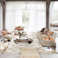 Lounging in a ethnic chic Moroccan style way. A lot of pillows and floor cushion… Lounging in a ethnic chic Moroccan style way. A lot of pillows and floor cushions with soft rustic colors ♡ visit our webstore for more beauties made in Morocco. Moroccan Lounge, Moroccan Decor Living Room, Moroccan Home Decor, Moroccan Interiors, Moroccan Style, Living Room Decor, Moroccan Floor Cushions, Moroccan Fabric, Yoga Room Decor