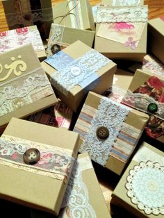 50 Vintage Favor Boxes by ShabbySheekShop on Etsy, $60.00 use pink or blue ribbon or nursery colours if known.