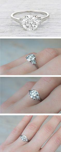 1.55 Carat Diamond Art Deco Vintage Engagement Ring