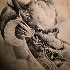 @chronicink #dragon #tattoo #asian #blackandwhite