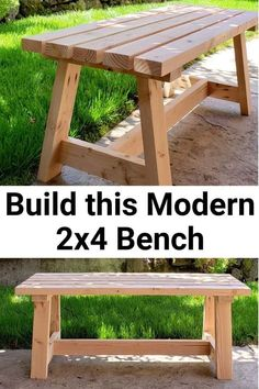 Modern Bench - DIY Tutorial - Girl, Just DIY! Build this beginner project Modern Bench with my DIY Tutorial using construction but with a modern twist. Great budget friendly DIY for a patio, entryway, or a dining room. Woodworking Basics, Easy Woodworking Projects, Diy Wood Projects, Woodworking Plans, Woodworking Furniture, Woodworking Equipment, Woodworking Techniques, Green Woodworking, Easy Small Wood Projects