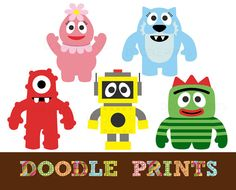 Digital Clip Art Printable - Inspired by Yo Gabba Gabba Design - Yo Gabba Gabba Clipart $5