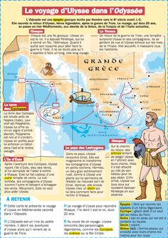 Voyage d'Ulysse dans l'Odyssée (carte PDF) French Teacher, French Class, French Lessons, Teaching French, Learning Process, Kids Learning, Flags Europe, French Language Learning, Cycle 3