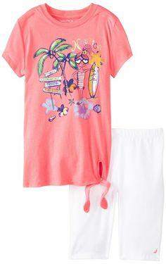 Nautica Girls 7-16 Short Sleeve Graphic Tee and Bike Short, Rose, 7