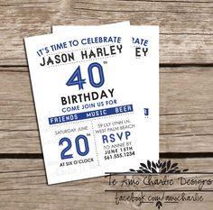 Adult Birthday Party Invitations by Te Amo Charlie #men #guybirthday #milestone #birthday #adultbirthdayparty