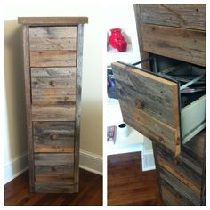 Awesome way to make an old file cabinet looking rustic and amazing!