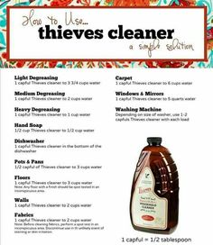 Dilution guide for Thieves cleaner. Thieves cleaner is a highly concentrated, super effective, plant-based, essential oil-infused cleaner that has completely replaced all of the cleaners in my home! It's changed our lives! Essential Oil Cleaner, Thieves Essential Oil, Essential Oils Cleaning, Essential Oil Uses, Pure Essential, Young Living Oils, Young Living Essential Oils, All You Need Is, Limpieza Natural