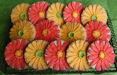 Love these gerber daisy cookies! Fun Cookies, Cupcake Cookies, Wedding Cookies, Wedding Favors, Cookie Crush, Gerber Daisies, Cheesecake Cake, Flower Cookies, Orange Wedding
