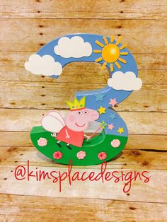 Your place to buy and sell all things handmade Peppa Pig Birthday Decorations, Pig Birthday Cakes, Muppet Babies, Peppa Pig Party Supplies, 1st Birthday Photos, A Table, Etsy, Photo Props, Handmade