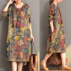 Women Casual Loose Print Long Sleeve Dress