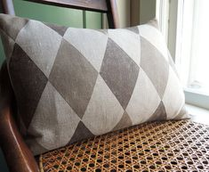 Two Toned Taupe Harlequin on Natural Gray Linen Lumbar by giardino
