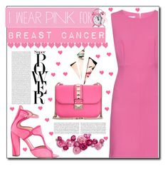 """""""I Wear Pink For"""" by israa-rz ❤ liked on Polyvore featuring Diane Von Furstenberg, Monique Lhuillier, Valentino, Oris and IWearPinkFor"""