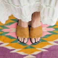 March 28 - Just so simple. Think about airport security when you're lugging your tent through Heathrow and be thankful for small (slip-on) favors.  Newbark Roma II patchwork sandals, $385 newbark.com