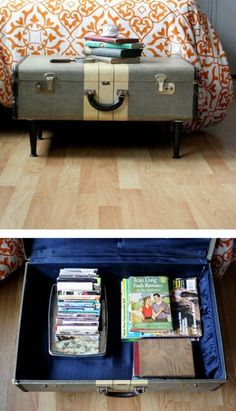 100 Ways to Repurpose and Reuse Broken Household Items Turn an old suitcase into a coffee table with storage.