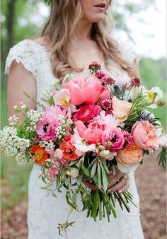 Big bright flowers for bride bouquet
