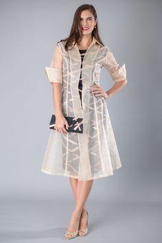 Living Silk - Organza Coat and Ribbon Dress - Living Silk Two Piece Outfits Coat Dress, The Dress, Fancy Dress, Modern Filipiniana Dress, Dress Outfits, Fashion Dresses, Peplum Dresses, Dress Tops, Bride Groom Dress
