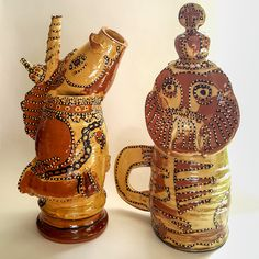 Mary Wondrausch - Unicorn and Lion slipware ceramic jugs
